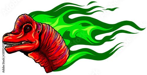 Vector Cartoon Dragon Head Isolated On White Background Canvas Print