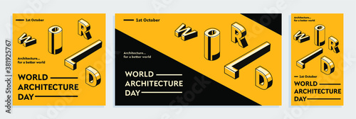 Foto World Architecture Day isometric typography concept design for greeting card, poster, banner, flyer