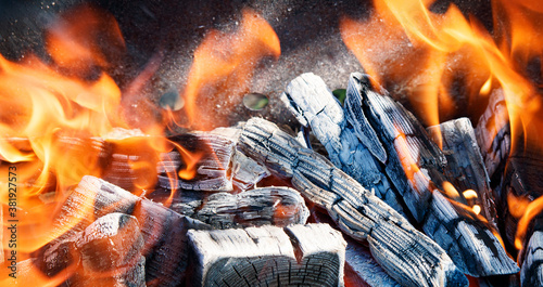Close-up of fire flames and black charcoal covered in ash in the open air Canvas Print