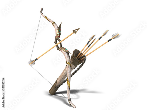 Photo gold bow and arrow attributes of the dussehra holiday 3d render white