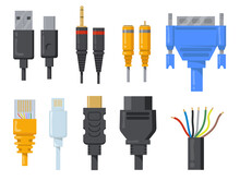Computer Cables, Wires And Cords Flat Item Set. Cartoon Black And Colored Connectors For HDMI Or VGA Port Isolated Vector Illustration Collection. Network And Communication Concept