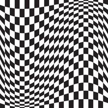 Wavy, Waving Version Checkered, Chequered, Chessboard Surface With Distortion, Deformation Effect. Distort, Deform Squares Background, Pattern.