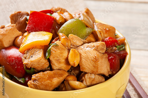 Photo .Kung pao chicken. Chinese traditional food. Chess chicken.