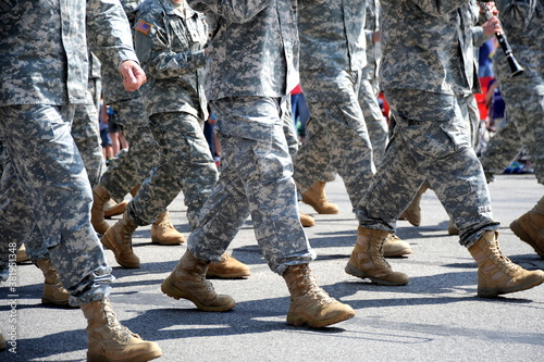 USA army marching band in a parade outdoors. Wallpaper Mural