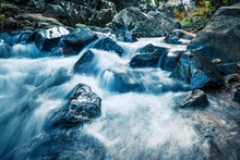 Mountain Stream With Strong Cu...