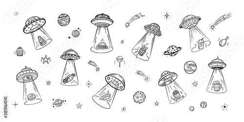 Photo UFO Abducts Fast Food - Space Vector Set