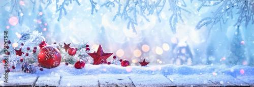Fototapeta Winter Sunny Landscape with Spruce Branches. Christmas Decoration obraz