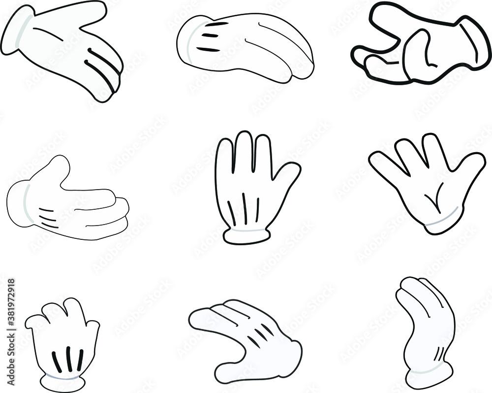 Fototapeta Set of hands Signs on white background. Vector