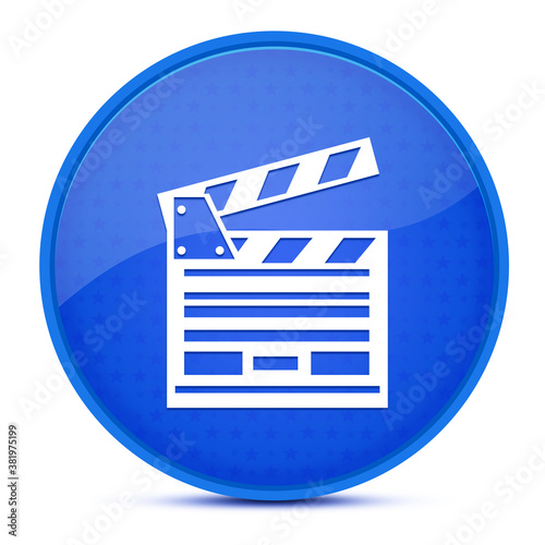 Fotografía Cinema aesthetic glossy blue round button abstract