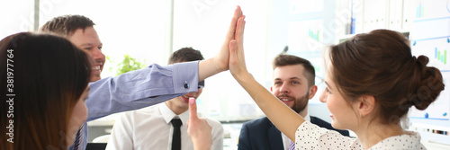 Fotografía Portrait of biz people performing friendly gesture in order to celebrate important business event