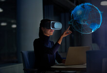 Businesswoman With Virtual Rea...