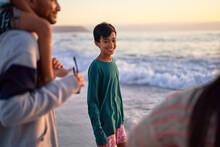 Portrait Happy Boy On Ocean Be...
