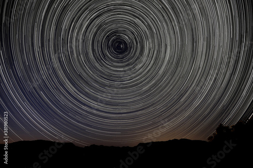 Evening Night Under the Star Trails in Joshua Tree National Park