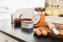Baking Ingredients On Kitchen ...