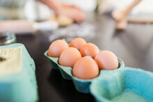 Close Up Fresh Brown Eggs In C...