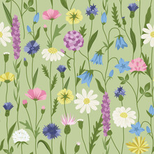 Wildflower Seamless Pattern In Vintage Colors On Green Background