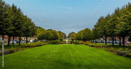 A view up the central boulevard in Welwyn Garden City, UK in the summertime Fototapeta