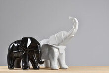 Figurines Of Elephants On A Gr...