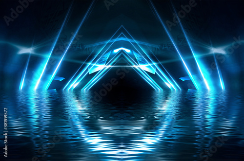 Obraz Abstract dark futuristic background. Blue neon light rays reflect off the water. Background of empty stage show, beach party. 3d illustration - fototapety do salonu