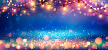 Abstract Christmas Party Background - Golden Glitter With Defocused Effect In Shiny Night And Lights Bulb