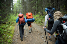 Friends Hiking With Camping Eq...