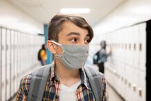 Student In School Corridor Wea...