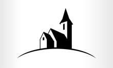 Vector Illustration Of A Church Logo Emblem