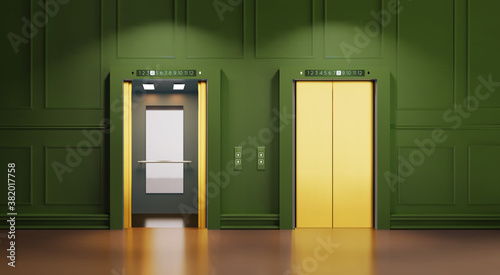 Modern interior with two Golden lift doors Canvas Print