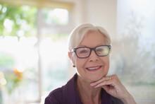 Portrait Happy Confident Senior Woman In Eyeglasses