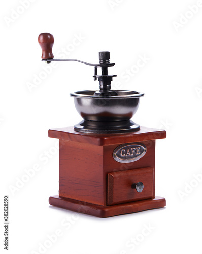 Obraz na plátne classic coffee grinder in wooden case  isolated on white background