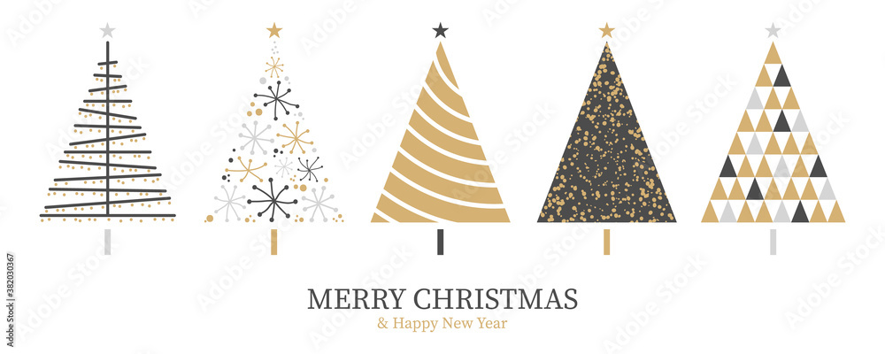 Fototapeta Christmas card background with abstract christmas tree decoration gold black isolated