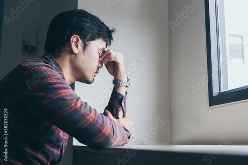 Fototapeta sad serious illness man