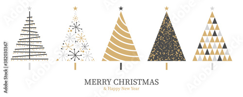 Fototapeta Christmas card background with abstract christmas tree decoration gold black isolated obraz