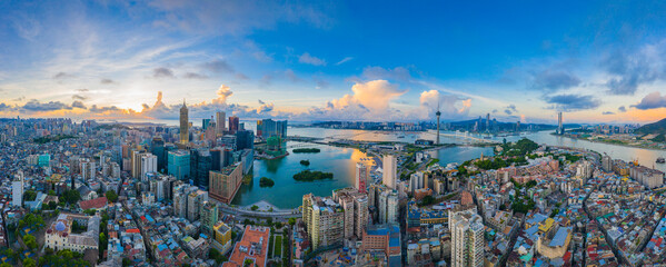 Aerial photography of Macao Peninsula City Scenery in China