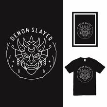 Demon Slayer Line Art T Shirt Design