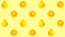 Yellow Fruit Pattern Of Sumo Mandarin Fresh Orange Slices On Cream Background,Summer,Autumn Cocept.