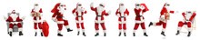 Set With African-American Santa Claus On White Background