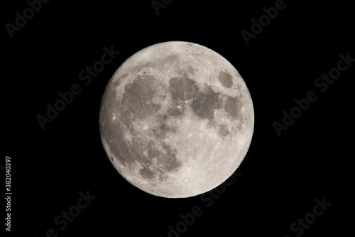 Fotografie, Obraz Full moon with visible details of lakes, craters, rivers - possibly spooky and p
