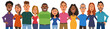 Diverse people arms around each other's shoulders with smile. Concept of teamwork, friendship, diversity, equality. Vector illustration in flat cartoon style.