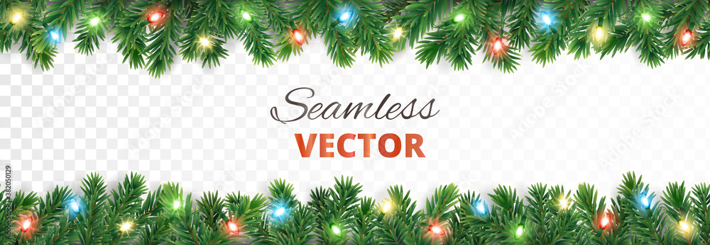 Fototapeta Seamless holiday decoration. Christmas tree border with lights garland. Festive frame isolated on white. Celebration vector background. For winter season banners, New Year headers, party posters.