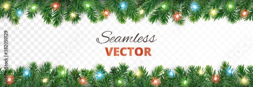 Fototapeta Seamless holiday decoration. Christmas tree border with lights garland. Festive frame isolated on white. Celebration vector background. For winter season banners, New Year headers, party posters. obraz