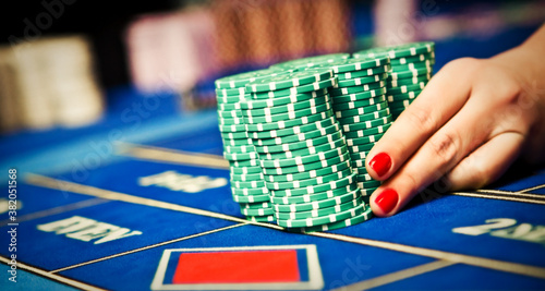 Betting and playing roulette in casino, gambling ads Fotobehang