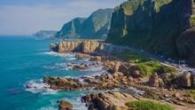 Aerial View 4k Hyper Lapse Of Nanya Rock, Coast Sea At Jioufen, Taiwan.