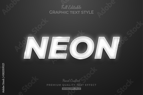 Obraz Neon White Editable Text Style Effect Premium - fototapety do salonu