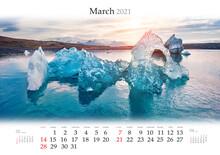 Calendar March 2021, B3 Size. ...