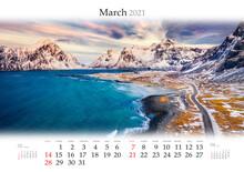Calendar March 2021, B3 Size. Set Of Calendars With Amazing Landscapes. Superb Spring View Of Skagsanden Beach, Vestvagoy Island. Norwegian Seascape, Lofoten Islands, Norway.