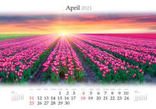 Calendar April 2021, B3 Size. ...