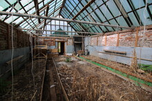 Abandoned Greenhouses With Dry...