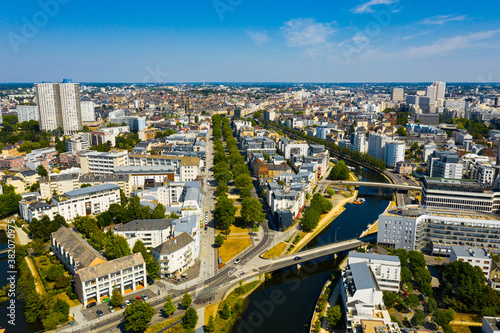 Top view of the city of Rennes. Brittany. France Fotobehang
