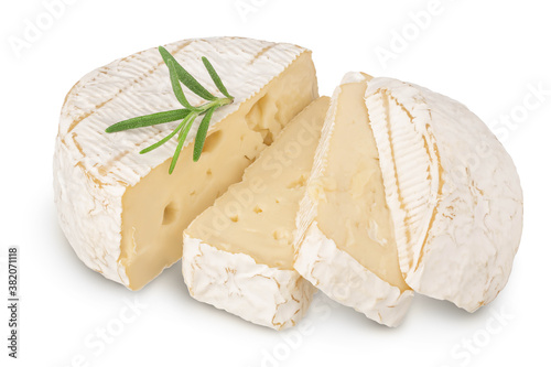 Fotografie, Obraz Camembert cheese sliced isolated on white background with clipping path and full